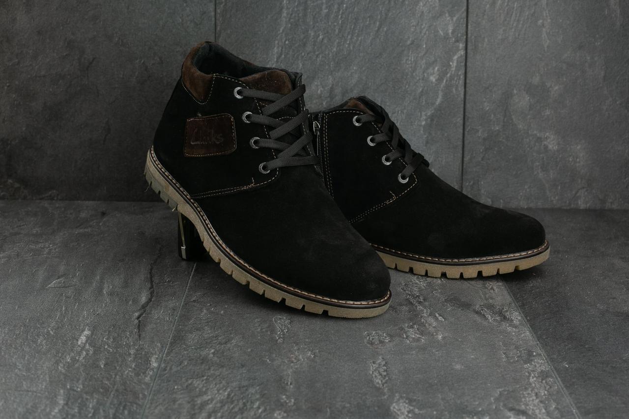 Мужские ботинки замшевые зимние черные Yuves 51