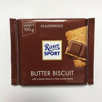 Шоколад молочный «Ritter Sport» BUTTER BISCUIT (Knusperkeks) 100 г., фото 2