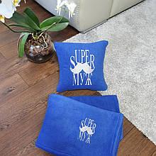 """Подарочный набор для мужчины: подушка + плед """"Super Муж"""" 41 цвет на выбор"""