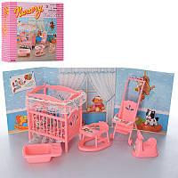 """Мебель для кукол """"Детская комната для дочки барби"""", кроватка, ходунки, коляска, ванночка, 9409"""