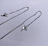 Срібні родированные сережки протяжки Пташки, фото 3