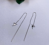 Срібні родированные сережки протяжки Пташки, фото 4