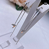Срібні родированные сережки протяжки Пташки, фото 5