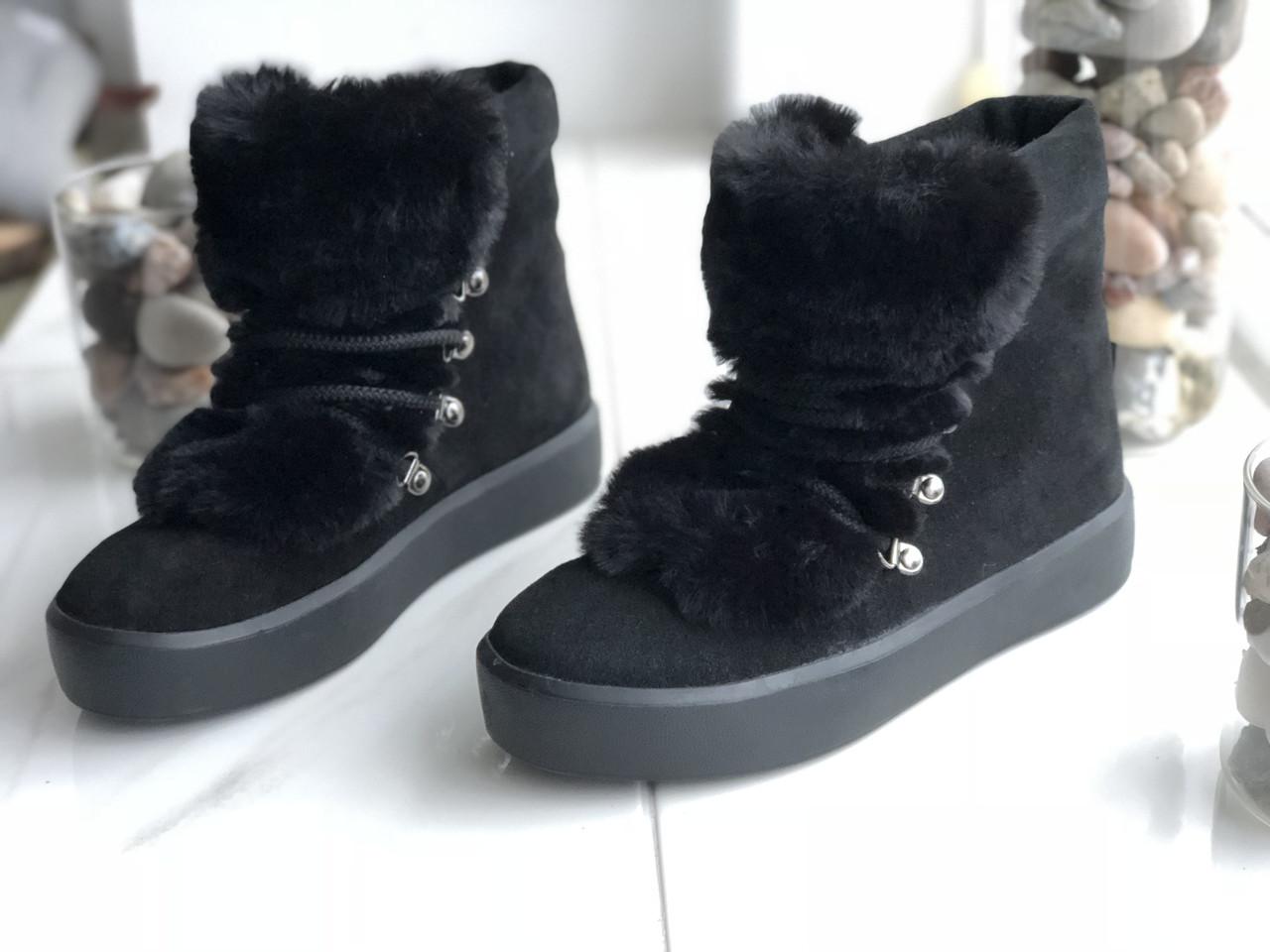 Женские зимние ботинки с натуральным мехом 39размер