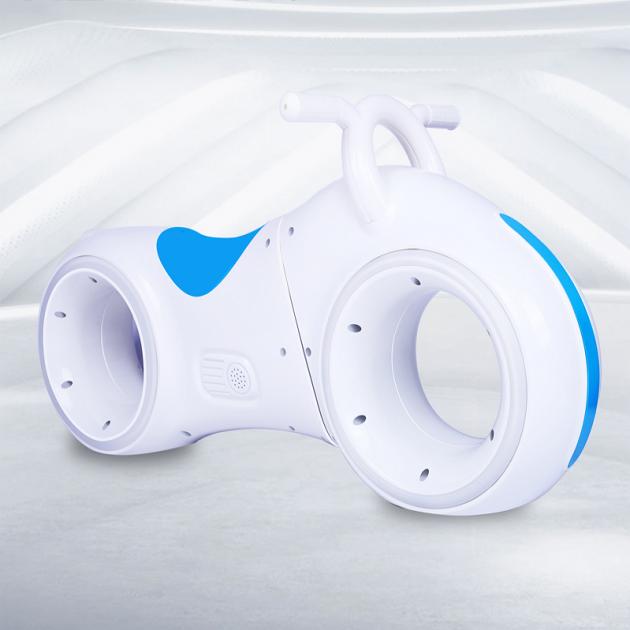 Детский Беговел Tron Bike с Led подсветкой Bluetooth и Динамиками Толокар Бело-Синий