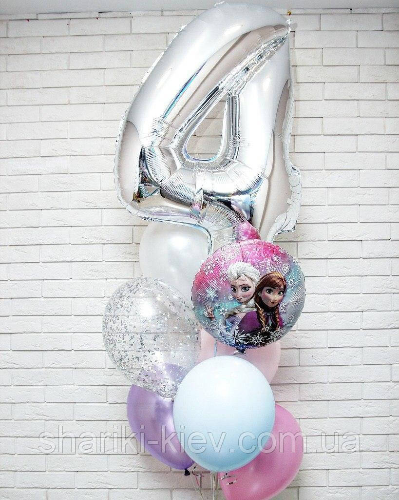 Связка шаров для девочки с шаром цифрой и круглым шаром Фроузен и цветными латексными шарами