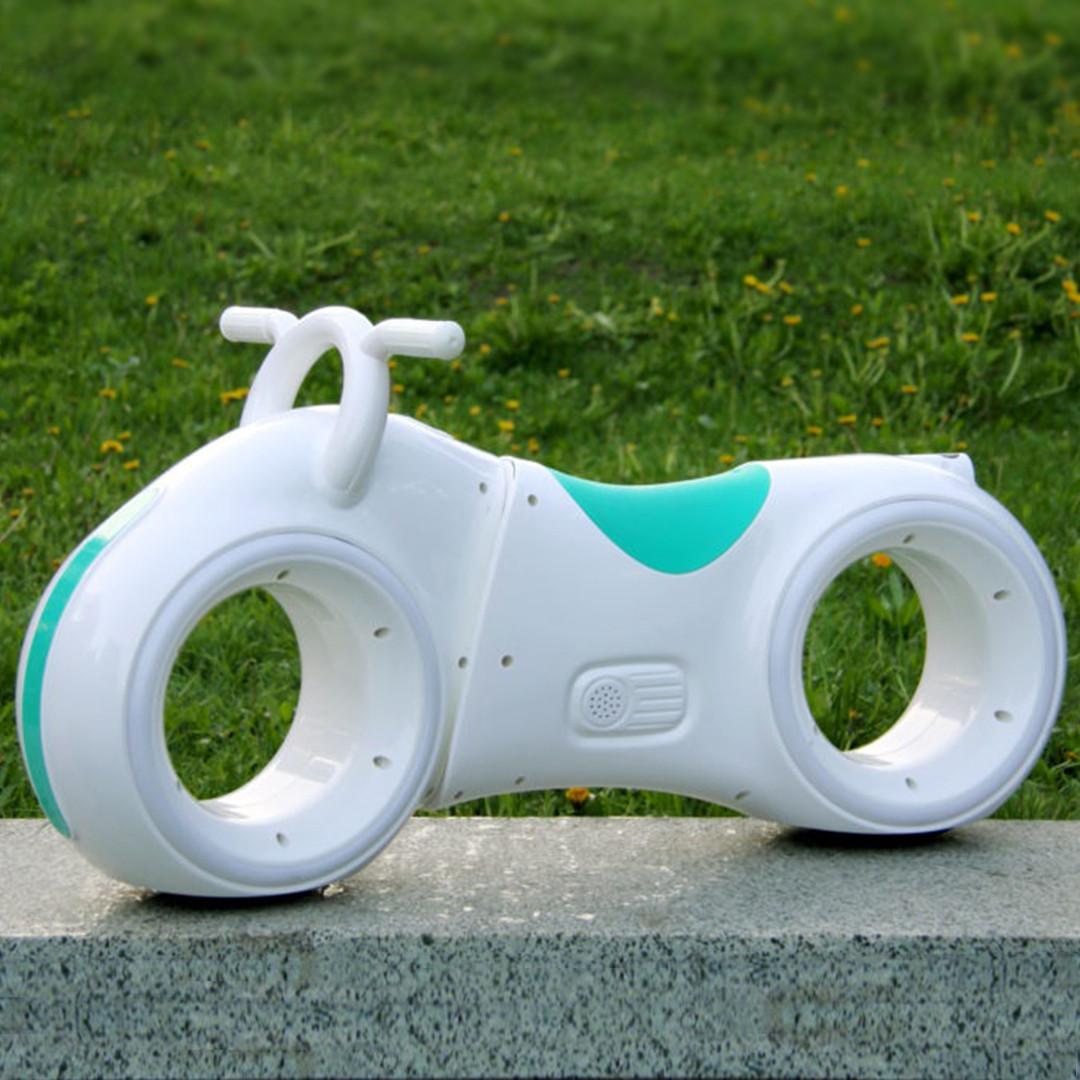 Дитячий Беговел Tron Bike з Led підсвічуванням Bluetooth і Динаміками Толокар Біло-Зелений