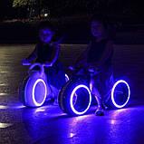 Дитячий Беговел Tron Bike з Led підсвічуванням Bluetooth і Динаміками Толокар Біло-Зелений, фото 4
