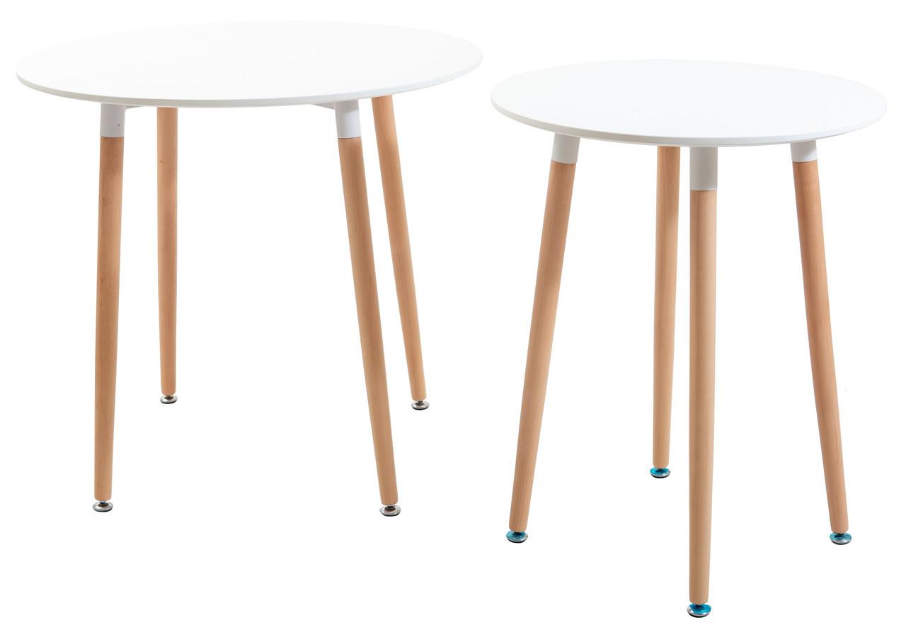 Стіл Ксав'єр D=800 (ноги дерево) (Білий)