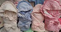 Детский демисезонный велюровый конверт - одеяло на выписку, цвета разные - S836