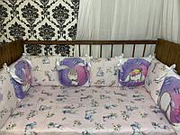 Комплект бортики - защита в кроватку на четыре стороны кроватки зайки