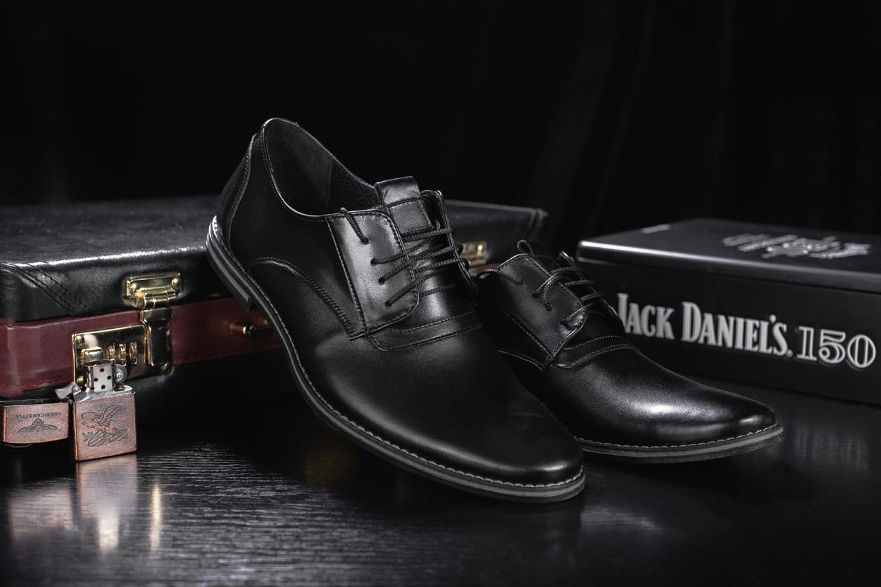 Мужские туфли кожаные весна/осень черные Vankristi 343