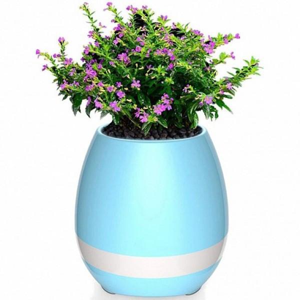 Умный цветочный горшок Bluetooth-колонка Smart Music Flowerpot New с музыкой Голубой (XL/NP/2271)