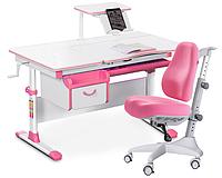 Комплект Evo-kids Evo-40 PN Pink (арт. Evo-40 PN + кресло Y-528 KP)/(стол+ящик+полка+кресло)/ белая столешница