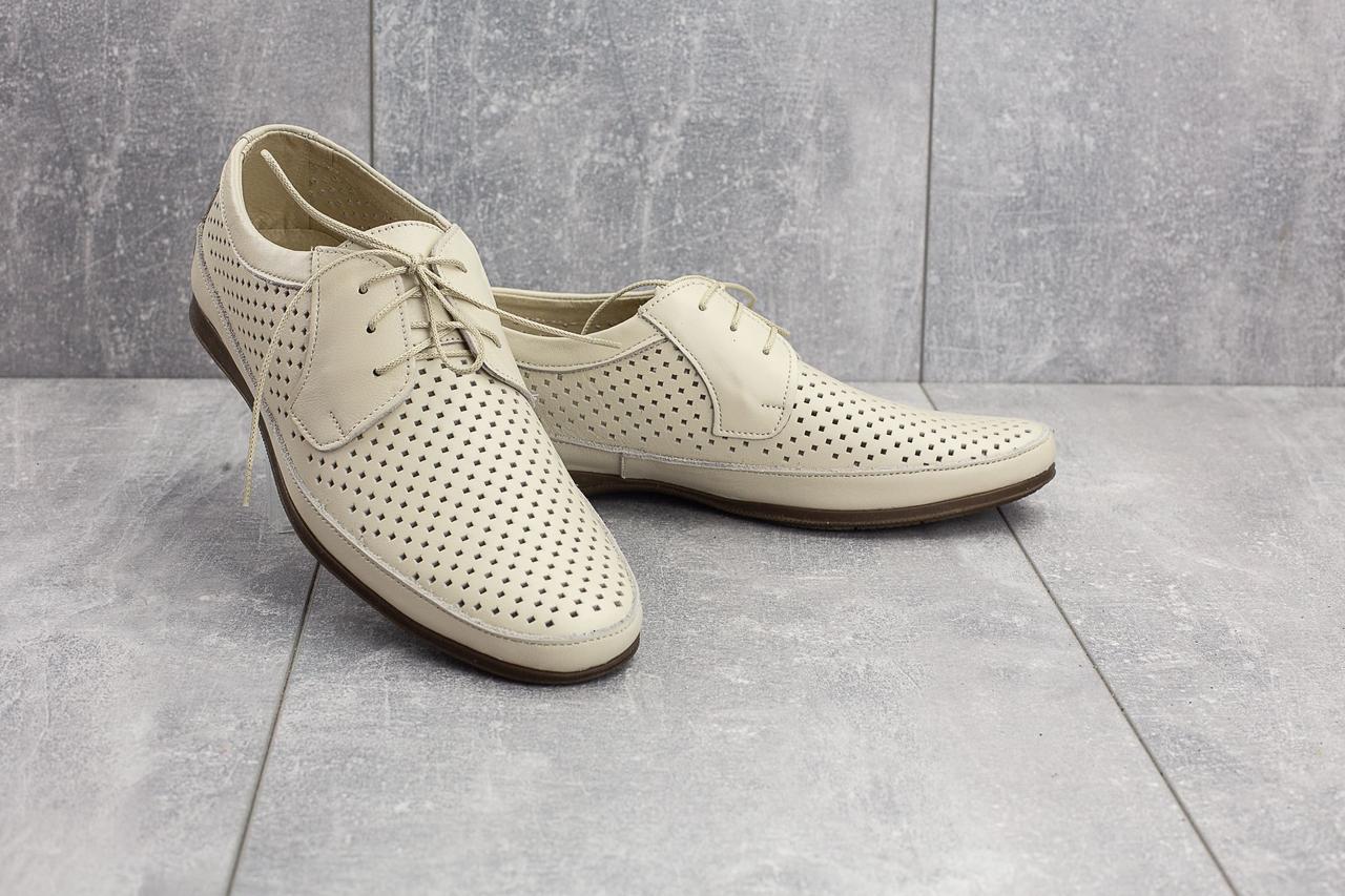 Мужские туфли кожаные летние бежевые Vankristi 390