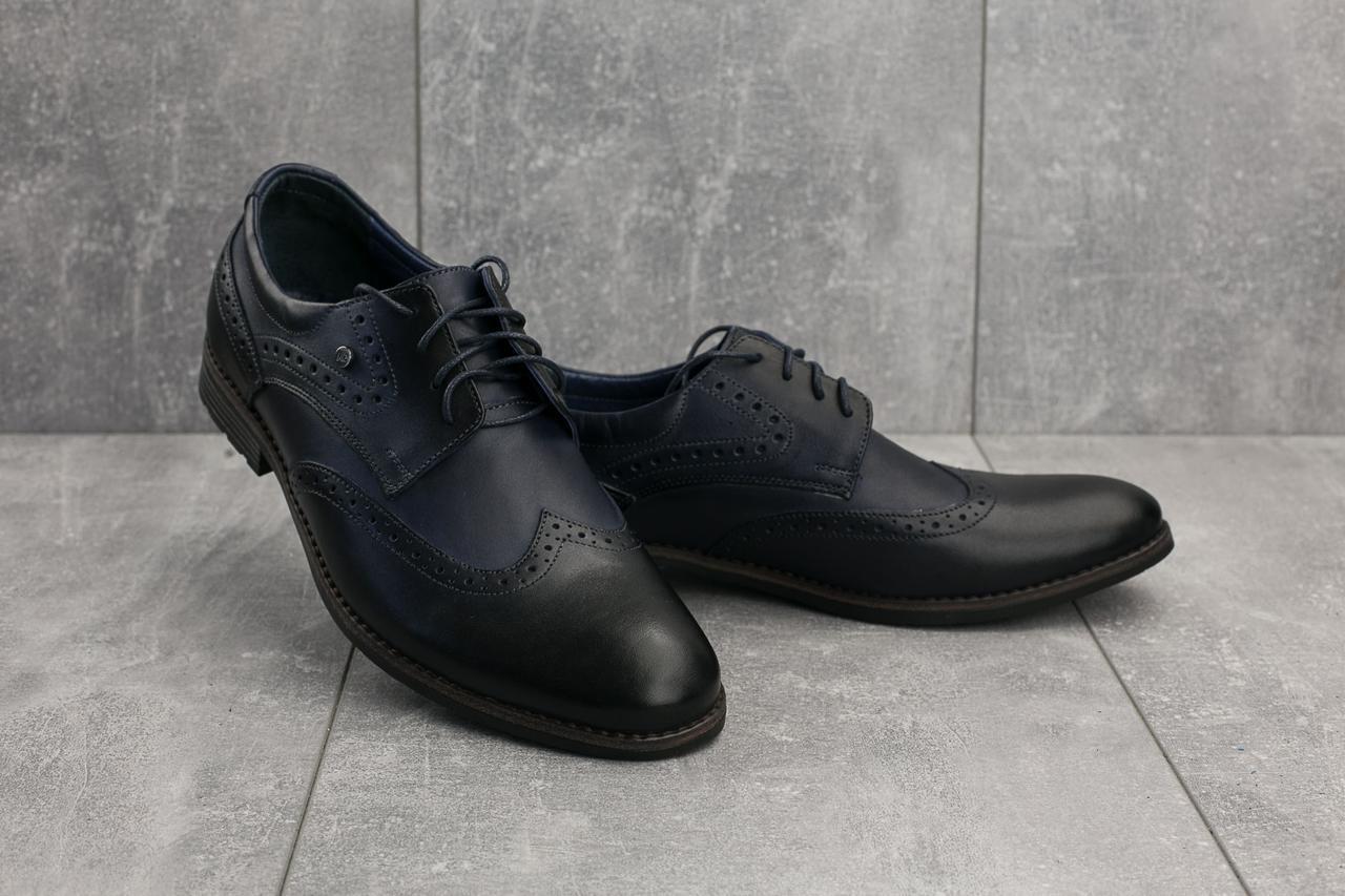 Мужские туфли кожаные весна/осень синие Vivaro 611 (Oxford)