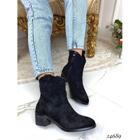 Женские ботинки черные демисезонные замшевые на небольшом каблуке, на низком эко-замш
