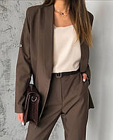 Женский классический костюм (брюки + пиджак) 42 - 46 рр креп костюмка