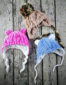 Шапка для дівчинки Зима з зав'язочками вельсофт Асорті, розмір 38 1/20(38) Kairos Україна