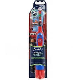 Дитяча зубна щітка на батарейках Braun Oral-B Stages Power Cars Тачки (DB4) знімна насадка 01231