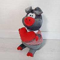 М'яка іграшка/звірятко в 4-х моделях. Порося із сердечком. Сірий. 40 см.