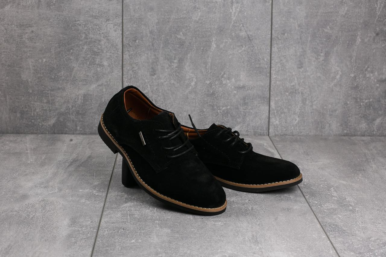 Подростковые туфли замшевые весна/осень черные Yuves М5 (Trade Mark)