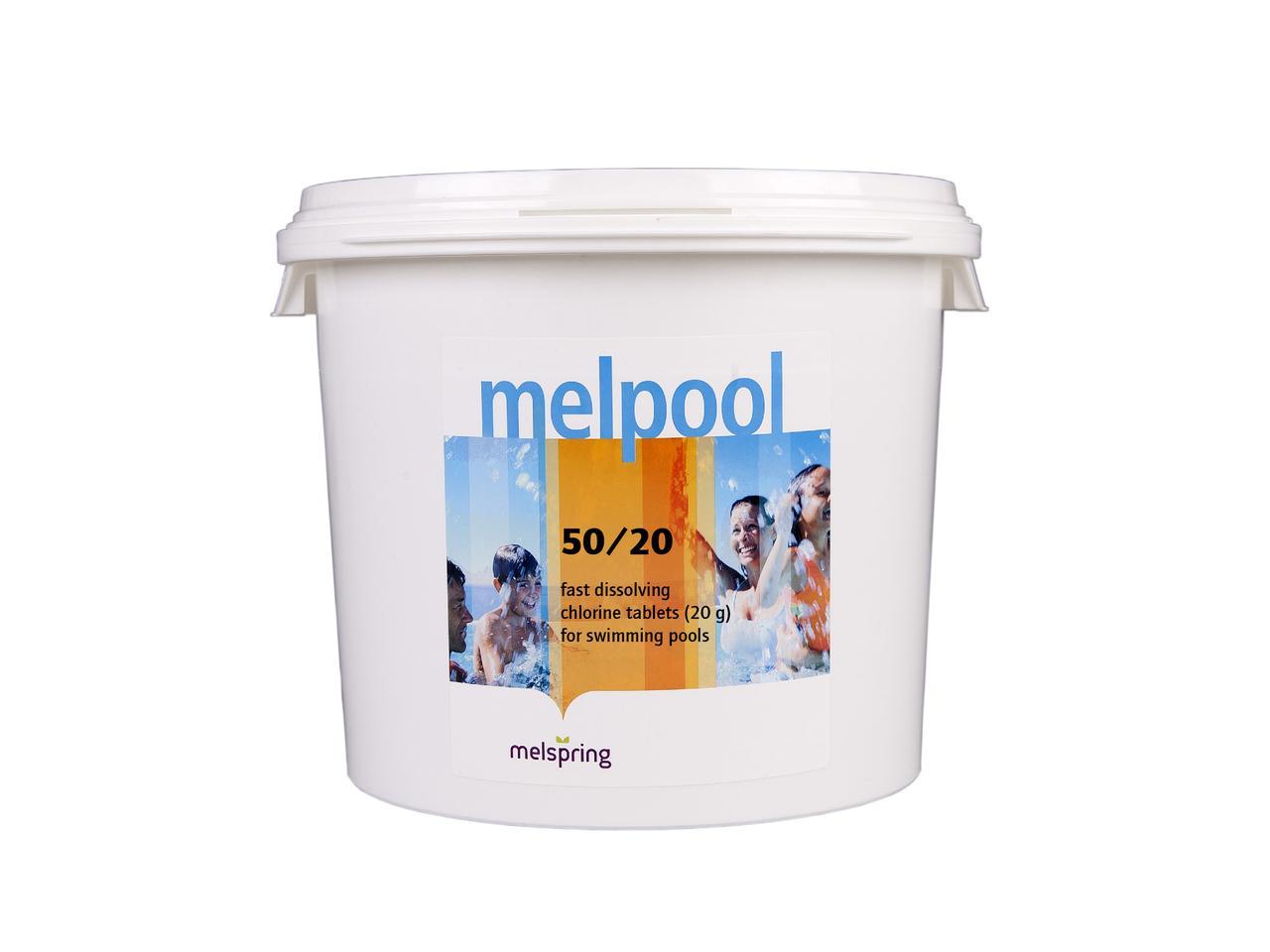 Шок-хлор Melpool 50/20  50 кг для дезинфекции воды в бассейне (20 г).