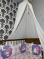 Комплект бортики - защита в кроватку на три стороны кроватки зайки