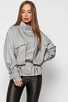 Модная Куртка на Весну Оверсайз со Светоотражающим Эффектом Серая р.48-50
