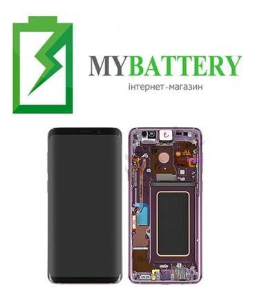 Дисплей (LCD) Samsung GH97-21691B G965 S9 Plus с сенсором фиолетовый (Purple) сервисный с рамкой