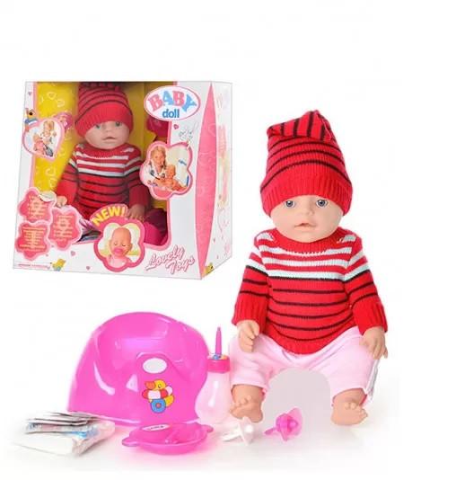 Интерактивный  Пупс Baby Doll в вязаном костюме с аксессуарами