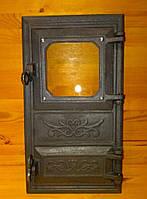 Дверца чугунная для печи с жаростойким стеклом 270х490 мм, 8,4 кг
