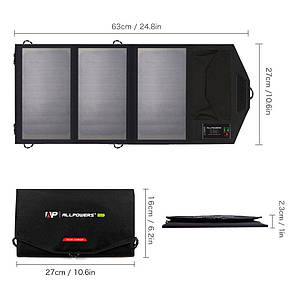 Туристическая портативная солнечная батарея ALLPOWERS 5V 15W 6000 mAa (переносная) солнечная панель.