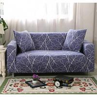 Натяжной чехол для двухместного дивана WL с наволочкой для декоративной подушки Синий с узором (W/5547B)