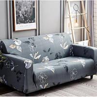 Натяжной чехол для двухместного дивана WL с наволочкой для декоративной подушки Серый в цветочек (W/5547GF)