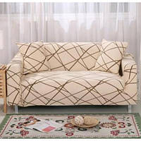 Натяжной чехол для одноместного дивана WL с наволочкой для декоративной подушки Бежевый с узором (W/5546Bg)