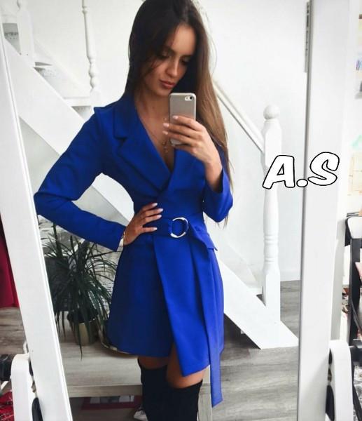 Женское стильное платье-пиджак,цвет электрик