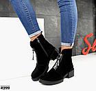 Женские демисезонные ботинки в черном цвете, из натуральной замши 37 ПОСЛЕДНИЙ РАЗМЕР, фото 2