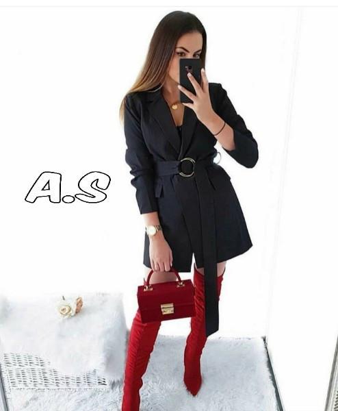 Женское стильное черное платье-пиджак