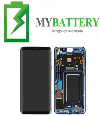 Дисплей (LCD) Samsung GH97-21691D G965 S9 Plus с сенсором голубой сервисный с рамкой