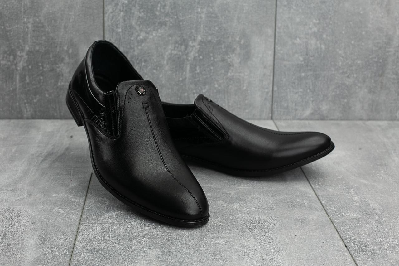 Мужские туфли кожаные весна/осень черные Slat 1802