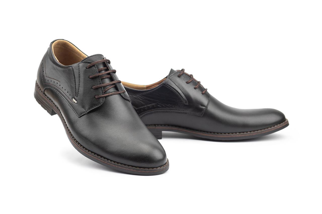 Мужские туфли кожаные весна/осень черные Stas 349-09-43