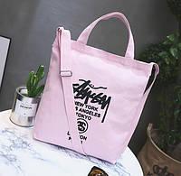 Женская сумка шоппер тканевая розовая
