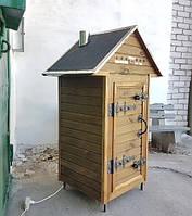 Коптильня 1300 л холодного и горячего копчения c просушкой, ольха внутри, крыша домиком