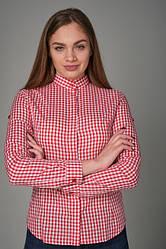 Женская рубашка для официанта и бармена в клетку красного цвета