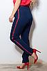 Жіночі штани з лампасами великих розмірів, костюмна тканина, розмір 48-50, 50-52, 52-54, 54-56, фото 2
