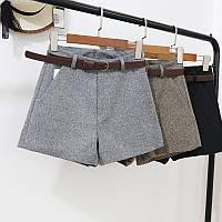 Женские шорты с поясом посадка завышена ( серые, коричневые, черные)