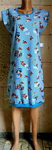 Голубое летнее платье в полоску из хлопка 44-60 р