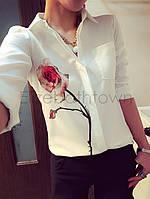Белая блузка с крупным принтом, фото 1