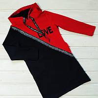 ✅Платье туника для девочки с капюшоном черное с красным Размеры 128